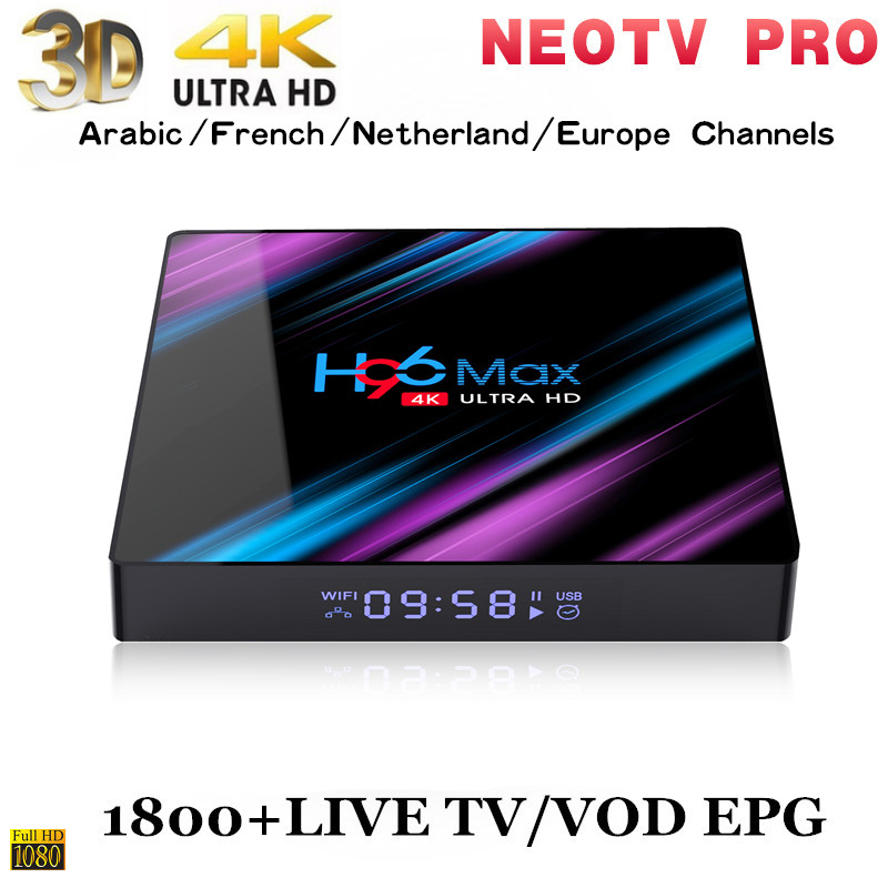 Best Stable HD IPTV Arabic IPTV box android 9 0 H96 MAX Support H 265 NEOTV