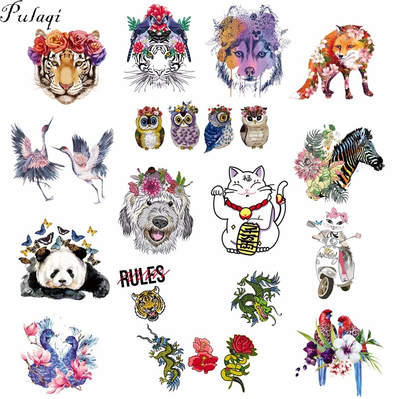 Pulaqi Cute Animal Patches Heat Transfer For T-Shirts Iron On Thermal Transfers Patch Fabric Appliques For Clothing Stickers F