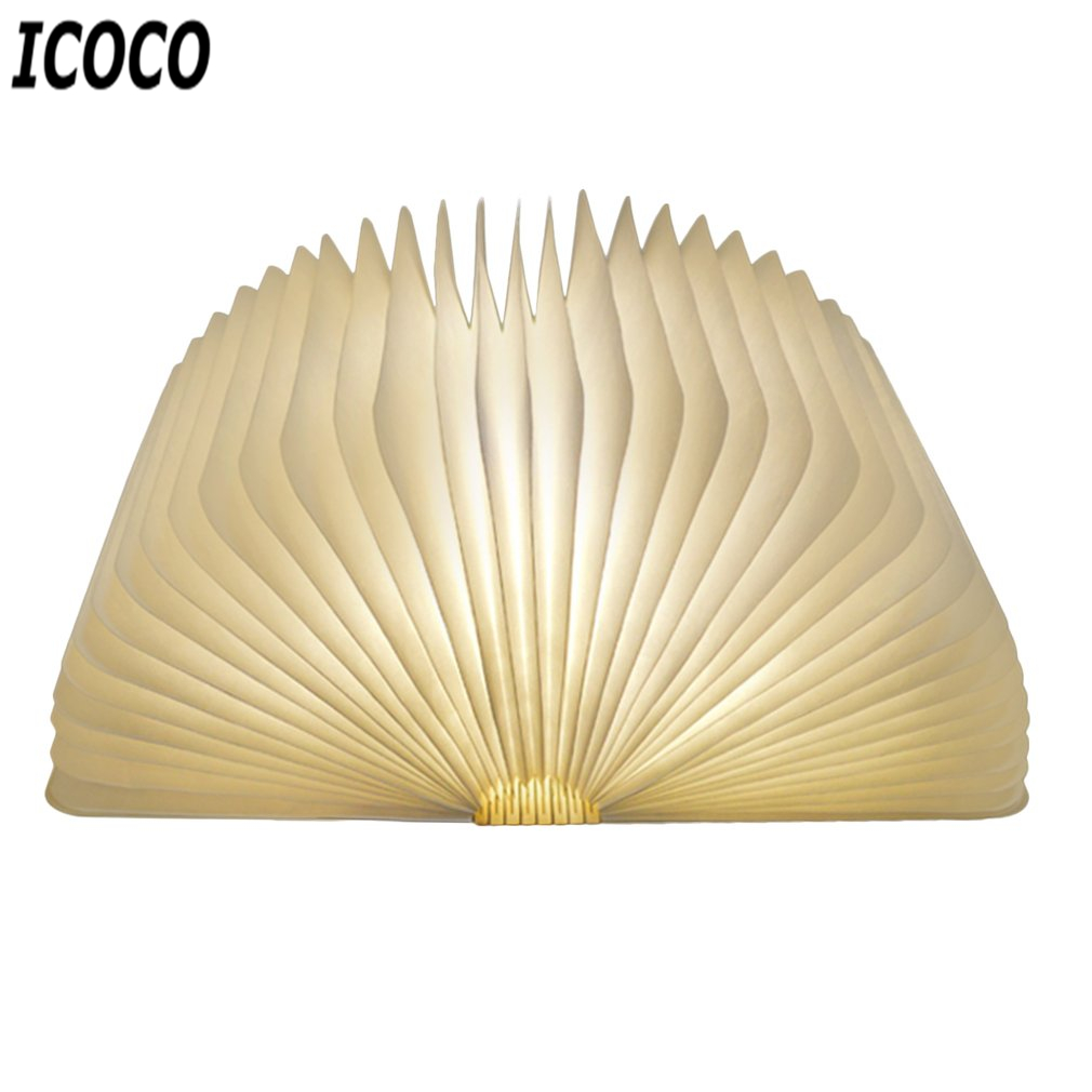 ICOCO Hot Sale USB Rechargeable LED Foldable Wooden Book Shape Night Light Desk Lamp for Home Bedroom Decor Birthday Xmas Gift