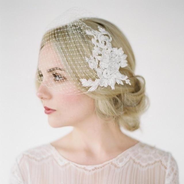 Lace Applique Beading Birdcage Wedding Veils High Quality Head Bridal Veil Handmade Custom Mantilla Wedding Veil V726