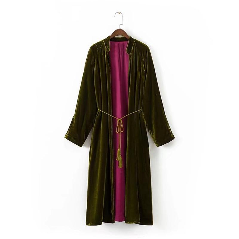 new winter elegant long velvet windbreaker solid color turn down collar belt velvet trench irregular split velour coats
