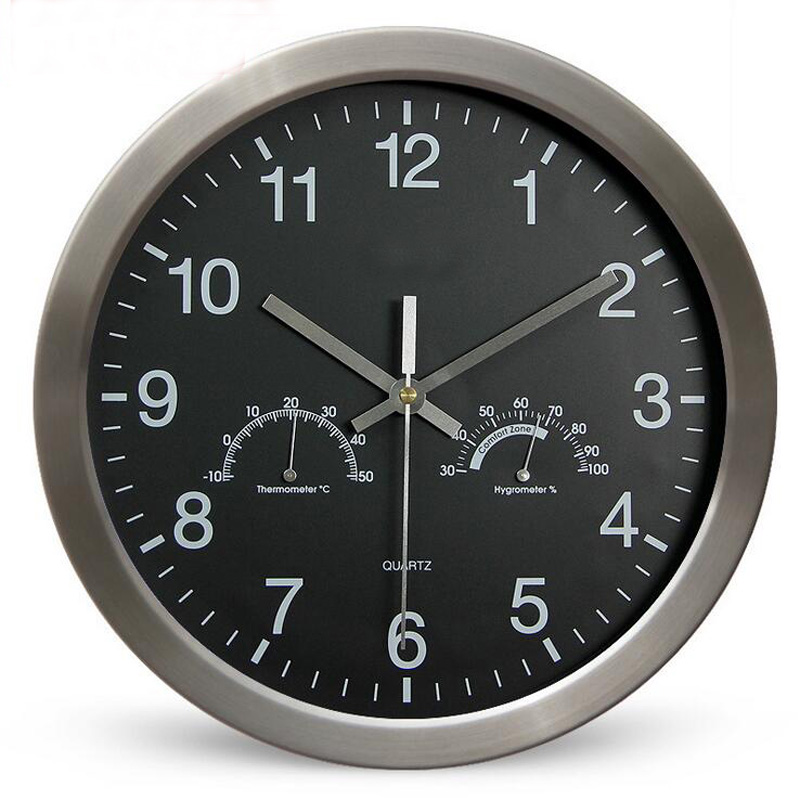 12 inch 30cm modern large round metal wall clock with thermometer hygrometer super silent watch. Black Bedroom Furniture Sets. Home Design Ideas