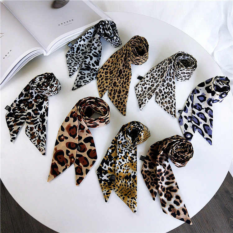 Foulards léopard printemps, automne et été paquet sac main ruban de soie ruban joker