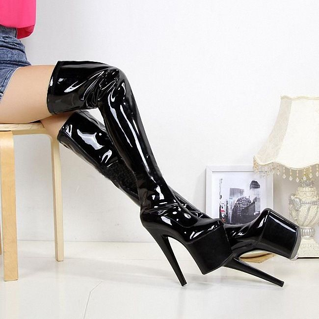 Women Lady High Heel Platform Sexy Boots 20CM Stiletto Thigh High Boot US4.5-14 Hot Patent Leather A30Women Lady High Heel Platform Sexy Boots 20CM Stiletto Thigh High Boot US4.5-14 Hot Patent Leather A30