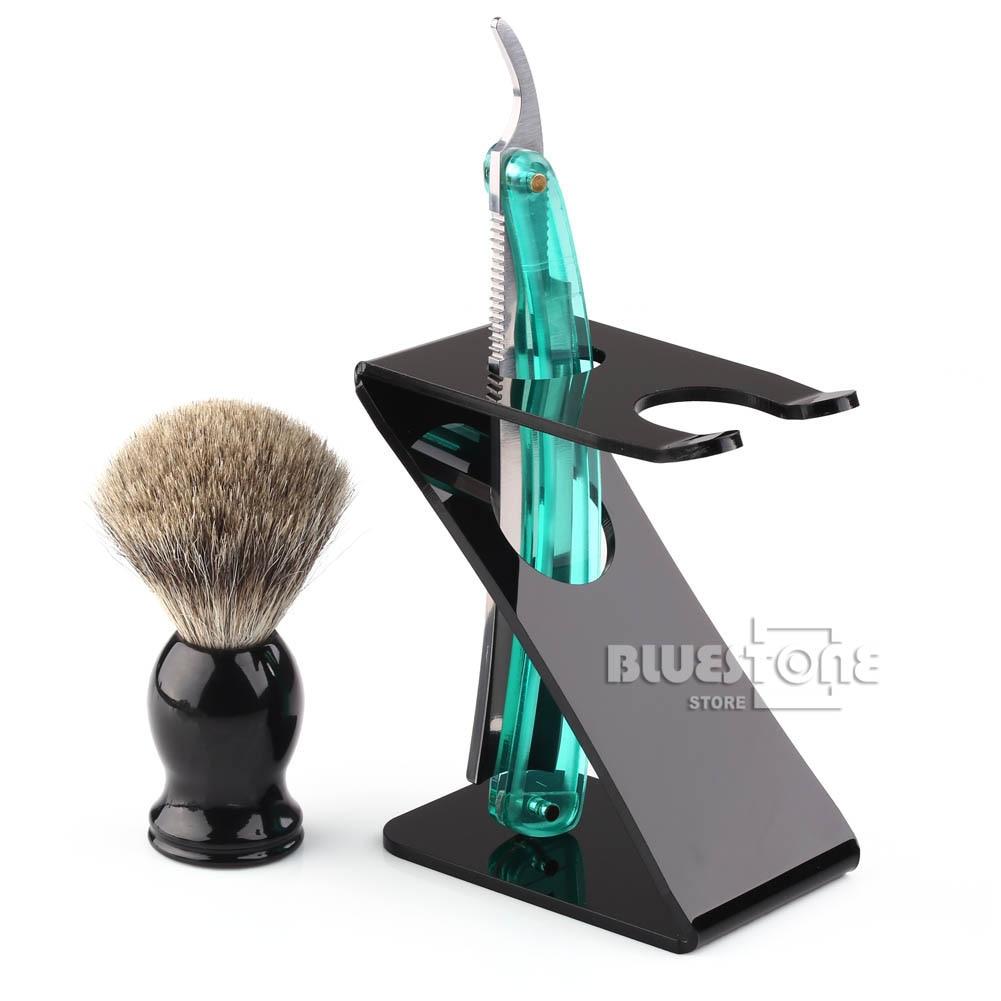Sikat cukur, Stainless Steel tukang cukur silet, Lipat pisau lurus, Z pemegang sikat berdiri, 3in1 set, Pengiriman gratis