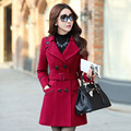 Plus Size Women's Coat 2016 Winter Trench Coats Double Breasted Turn-down Collar Coats Outerwear CO-084