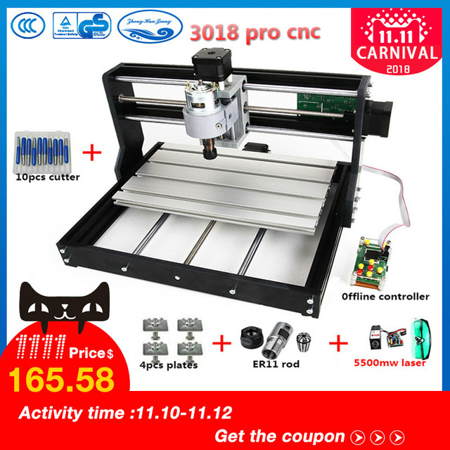 CNC3018pro withER11,diy mini cnc engraving machine,laser engraving,Pcb PVC Milling Machine,wood router,cnc 3018,NEW