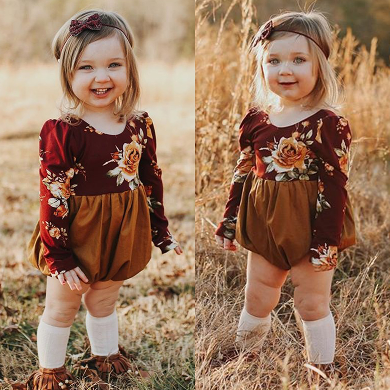 Cute Newborn Toddler Baby Girl Flower Long Sleeve Romper Jumpsuit Outfit Clothes