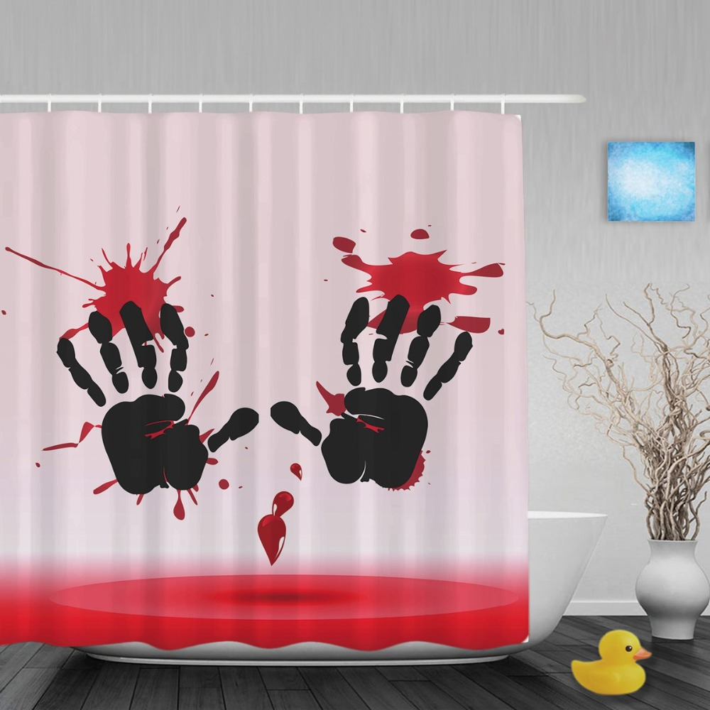 Halloween shower curtain - Pink Bloody Hand On A Wall Bathroom Shower Curtains Halloween Funny Teaser Shower Curtain Waterproof Polyester