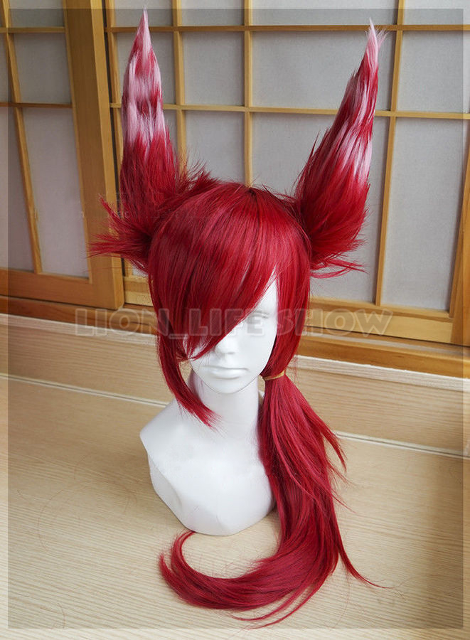 Xayah Wig Ears  New 136th Champion LOL Cosplay Red Ponytail-in Game Costumes from Novelty & Special Use    1