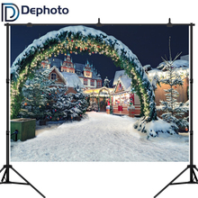 Dephoto Winter Snow Christmas Castle Arch Gate Photography Backdrops Vinyl Backdrop Custom Backgrounds Props For Photo Studio custom vinyl print cloth castle ladder photography backdrops for wedding stage photo studio portrait backgrounds props s 836