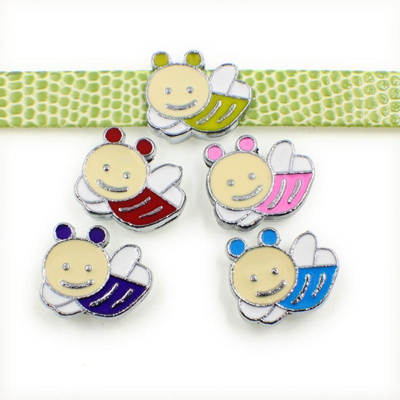 10PCS 8mm Alloy Colorful Cute Bee Slide Charms Slide Beads DIY 8mm Bracelets Wristbands,Belt Straps Pet Name Collar
