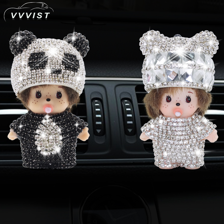 VVVIST 2018 Car Air Freshener Perfume Air Conditioner Outlet Perfume Clip With Diamond Decoration Car Air Freshener Perfume car outlet perfume air freshener with thermometer white black