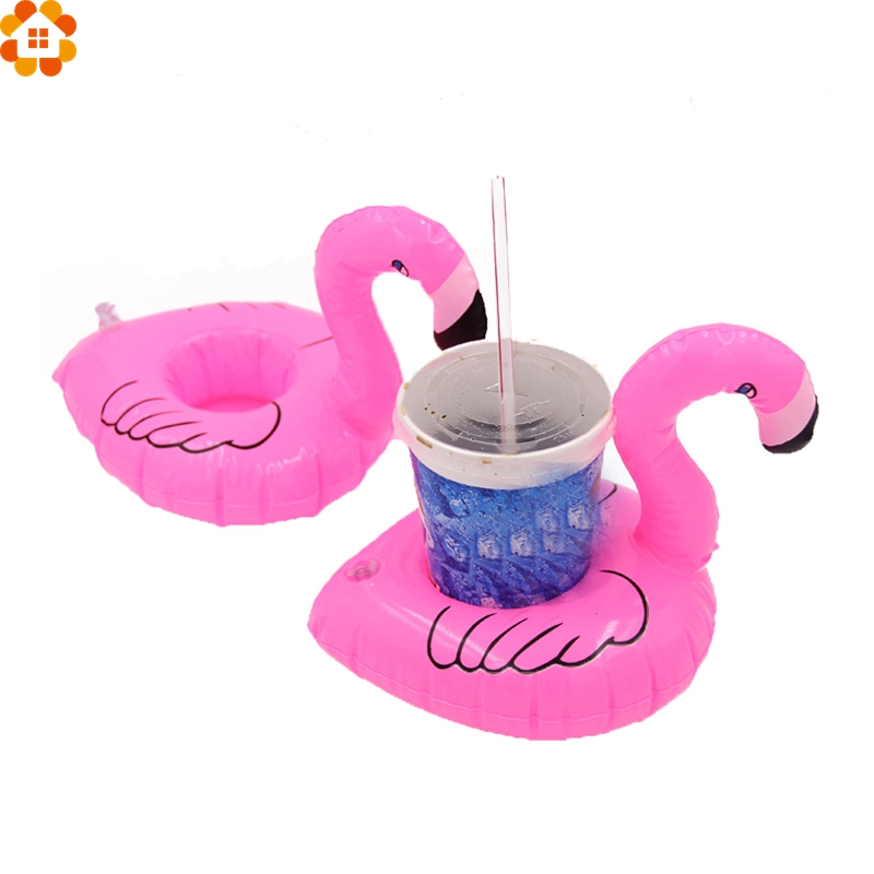 3PCS Mini Cute Flamingo Floating Inflatable Drink Can Cell Phone Holder Stand Pool Party Event&Party Supplies Kids Gift Toys