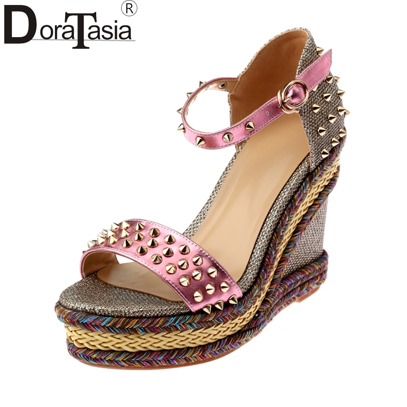 DoraTasia top quality brand shoes women platform rivets wedges high heels ankle strap fashion party wedding sandals woman shoes brand new sale fashion low fretwork heels rhinestone women party shoes elegant sweet ankle buckle strap lady top quality sandals