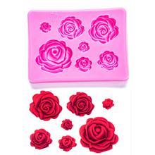 Moules en caoutchouc de silicone en forme de Roses pour fondant, accessoires de confiserie, outils de décoration de gâteaux au chocolat, FT-1023