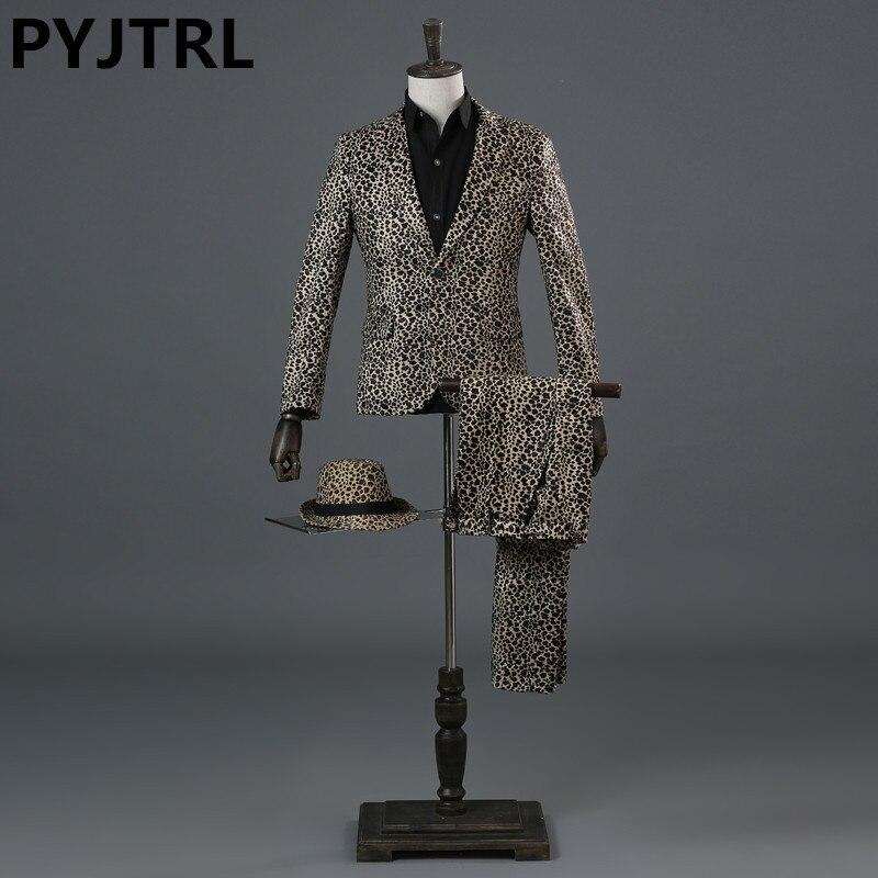 PYJTRL Men Tide Leopard Print DJ Singer Nightclub Stage Wedding Suit Bar Art Performance Costume Homme Latest Coat Pant Designs-in Suits from Men's Clothing    1