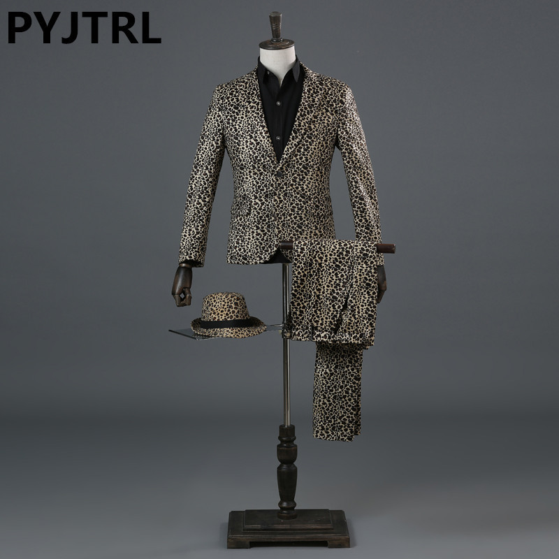 PYJTRL Men Tide Leopard Print DJ Singer Nightclub Stage Wedding Suit Bar Art Performance Costume Homme Latest Coat Pant Designs