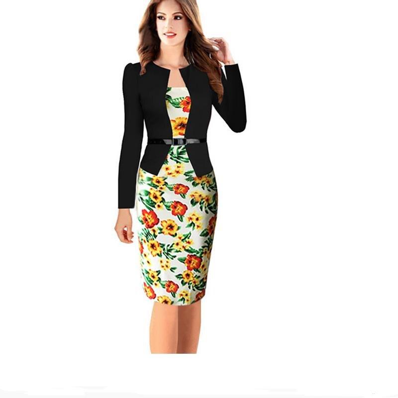 Long Sleeve Striped Stake Fake Two piece Suit Hip Pencil dress Stitching Knee dress Slim Pants Tunic Belt Dress