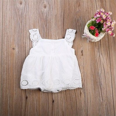 Baby Girl White Bodysuit Dress Sleeveless Cute White Cotton Clothes Outfits Newborn Baby Kids Girls Infant Clothing Tops цена 2017