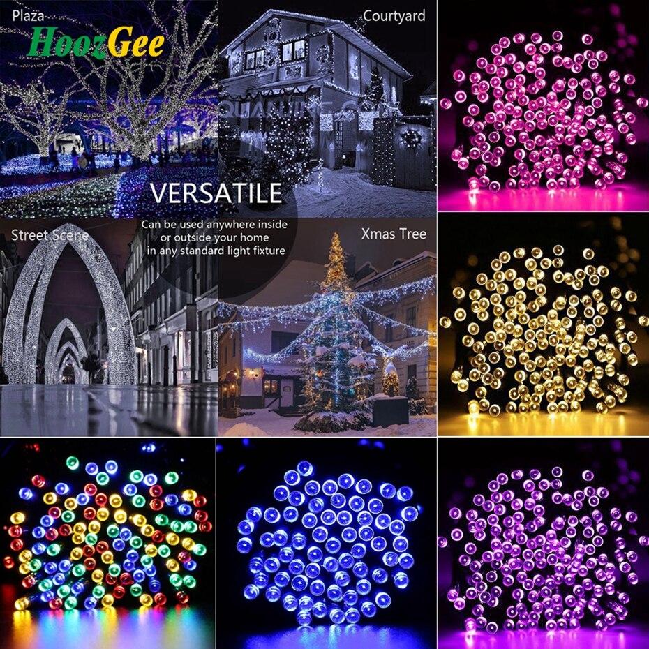 HoozGee Solaire Jeu de Lumières En Plein Air 50/100/200 LED 8 Mode 7 M/12 M/22 M Fil Fée Lampe Garden Party Décor X'mas Éclairage