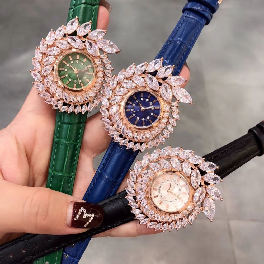 Genuine Leather bangle zircon Stone Quartz Wristwatch designer leaf round Dial watch clock for women