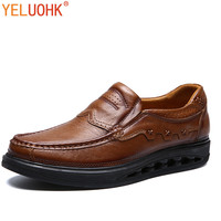 Genuine Leather Winter Shoes Men Slip On Men Loafers High Quality Men Shoes Winter Brown