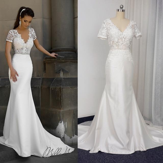 Short Sleeve V Neck Lace Sheath Wedding Dresses Low Back Satin Lace