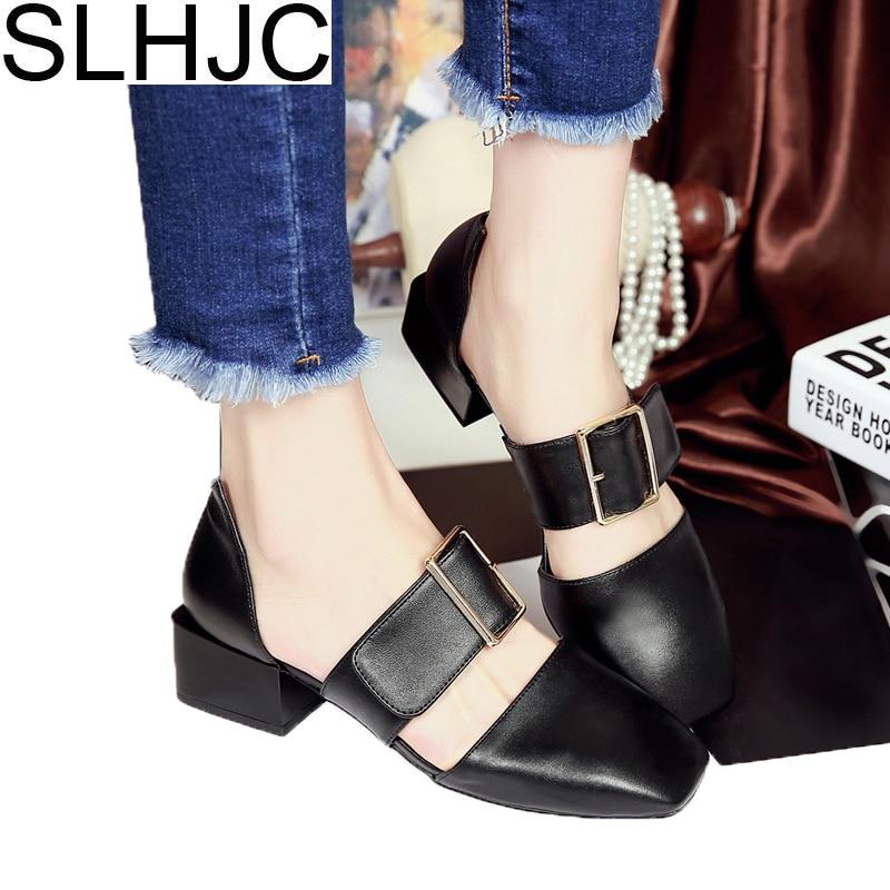 SLHJC 2018 Summer Sandals Medium Heel Square Toe Leather Pumps Fashion Design Wide Heel Lady Pumps Shoes 4.5 CM slhjc fashion 2017 summer autumn medium heel pumps square toe ribbon all match velvet sandals