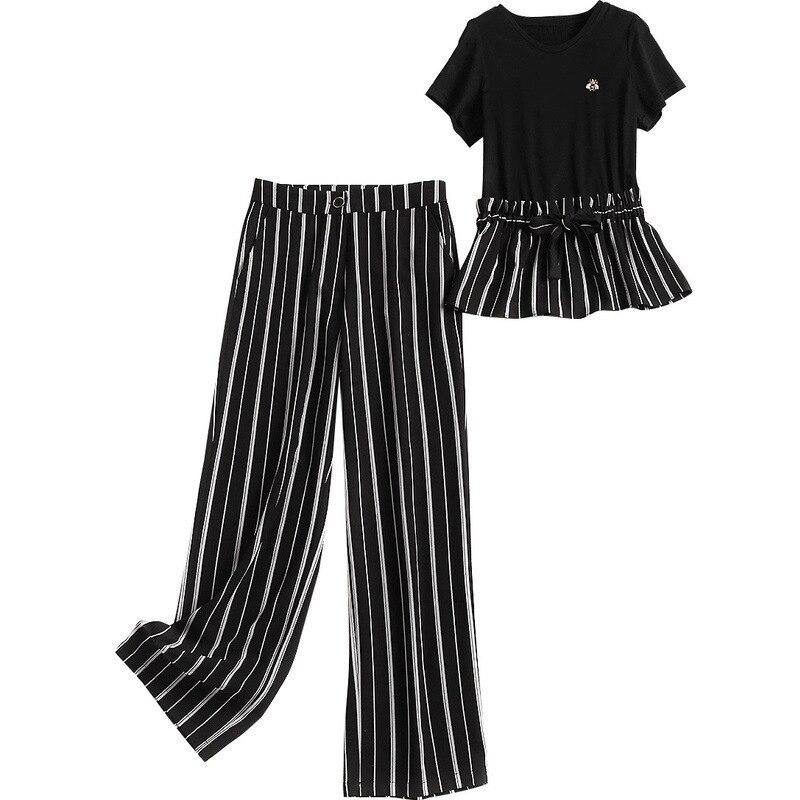 Conjunto De Cultivo Mujeres Piezas Imprimir Rayas Algodón Mezcla Dos Verano Pantalones Nuevo Camiseta Manga 2019 Traje Corta Negro Top 2 AX8q1Z