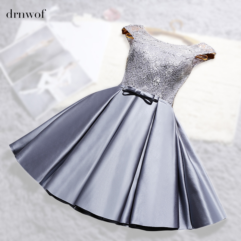 2017 New O neck Lace Satin Short Womens Ball Gown Bridesmaid Dresses Off the Shoulder Double