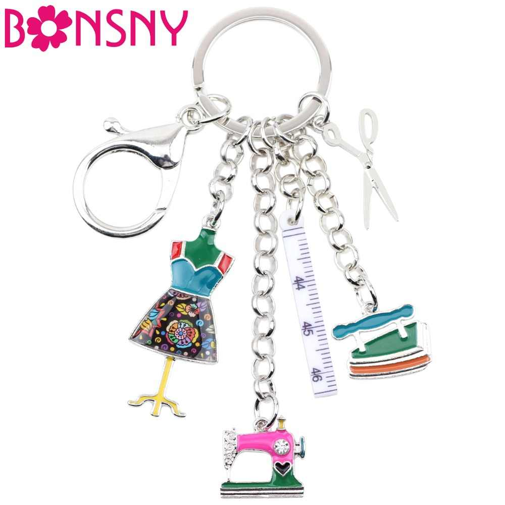 Bonsny Enamel Alloy Sewing Machine Tools Scissors Ruler Key Chains Keychains Pendant Vintage Bag Car Purse Charms Gift Drop Ship