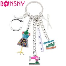 Bonsny Enamel Alloy Sewing Machine Tools Scissors Ruler Key Chains Keychains Pendant Vintage Bag Car Purse Charms Gift Drop Ship(China)