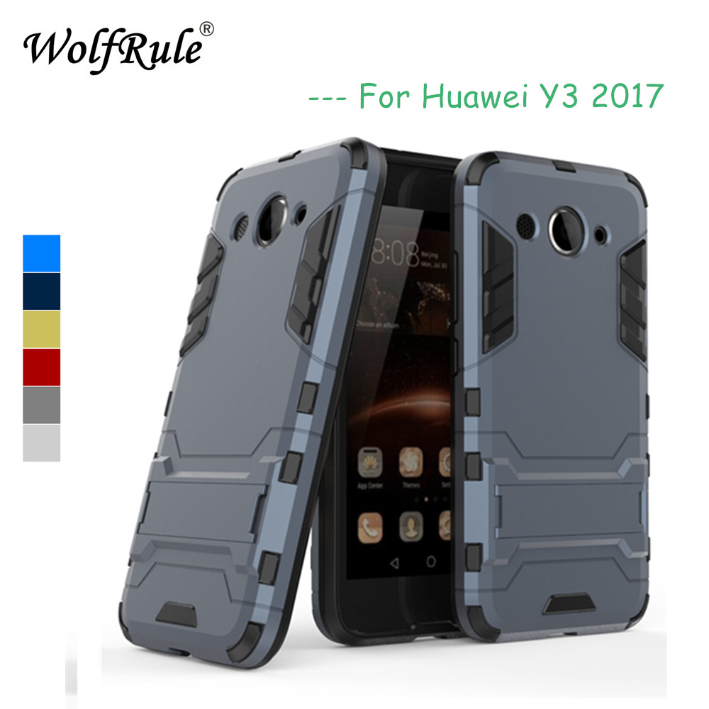 WolfRule Huawei Y3 2017 Cases Y3 2017 Cover Soft Silicon+ Plastic Kickstand Case For Huawei y3 2017 Case CRO-L22 CRO-L02 CRO-L03