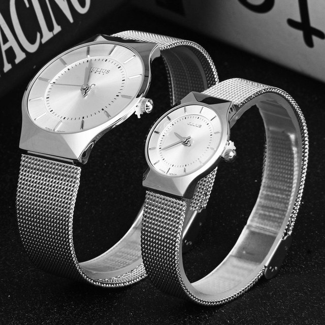 Julius Pair of Couple Quartz Wrist Watch Ultrathin Full Steel Lovers Watches Fashion Waterproof Men Women Wristwatches relogio