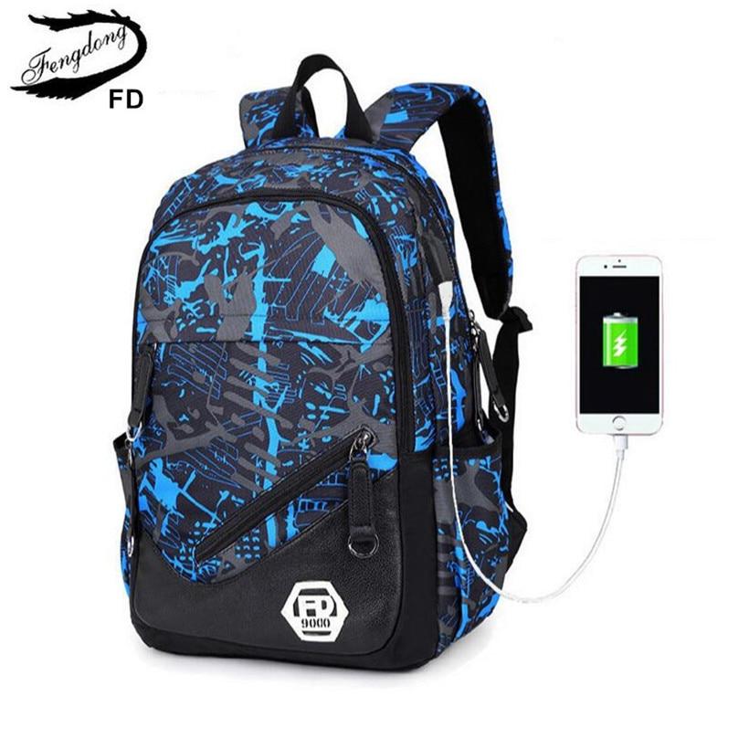 FengDong blue External USB Charge men travel Backpack Male Laptop bag 15.6 college bags high school backpacks for boys rucksack
