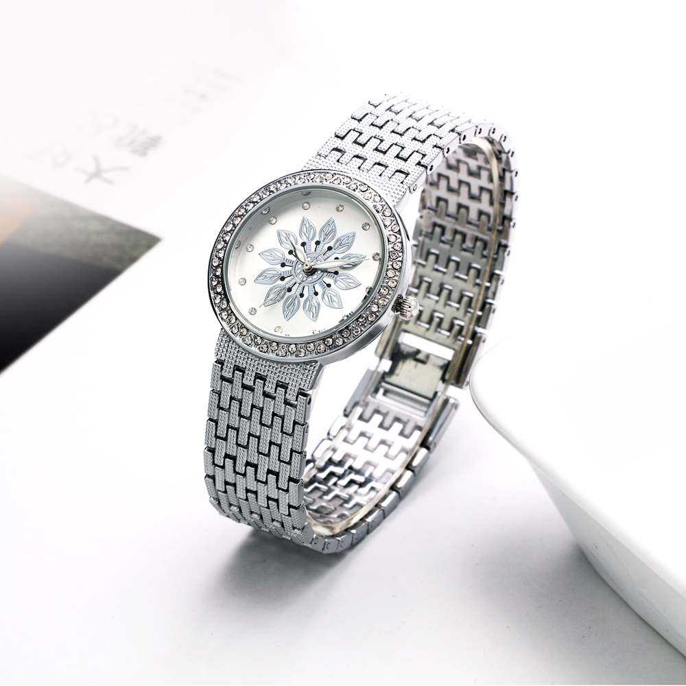 New luxury Watch for Women Metal Bracelet Style Flower Patten Dial Crystal Case Quartz Clock Top Quality wholesale free shipping 2