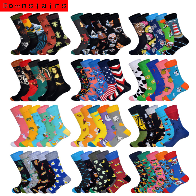 Downstairs 5pairs/lot 2019 Autumn New Arrived Skateboarding Socks Men Art BritishStyle Streetwear Hip Hop Designer Calcetines