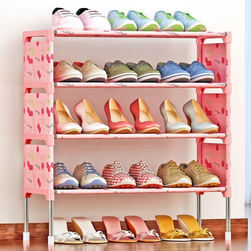 Modern minimalist removable storage shoe organizer non-woven stainless steel furniture shoes cabinet closet five layer shoe rack shoe cabinet hign quality shoe storage shoe racks shelf for shoes non woven fabrics furniture mueble zapatero