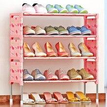Современный минималистский Съемный Хранения Обуви Организатор нетканые мебель из нержавеющей стали обувь шкаф пять слоев обуви стойки