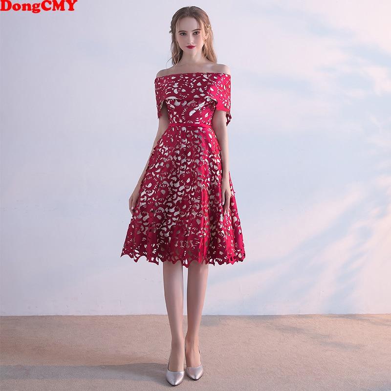 DongCMY Boat Neck Zipper Prom Dresses Sexy Lace Women Burgundy Short Party Dress