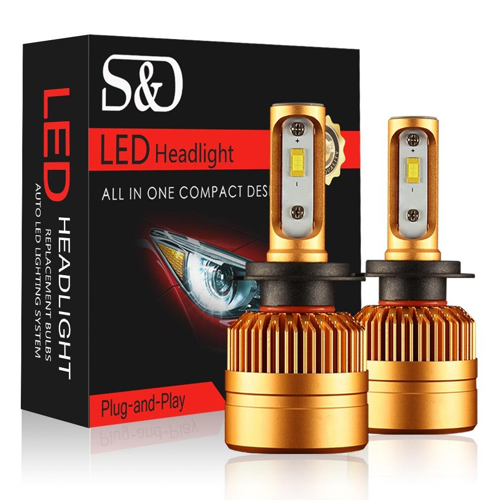 S & D 2 Cái H7 Đèn Pha LED Xe Bulb Kit Với Philips Chip 50 Wát 8000lm Tự Động Fog Ánh Sáng Đèn 6500 K 12 V Led Ô Tô Đèn Pha