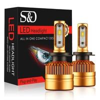S D 2Pcs H7 LED Car Headlights Bulb Kit With Philips Chip 50W 8000lm Auto Fog