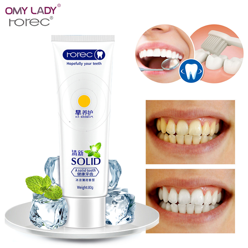OMY LADY ROREC Mint Fresh Toothpaste Whitening Remove Yellow Stains Halitosis Plaque Reduce Gingivitis Dentifrice Clean image