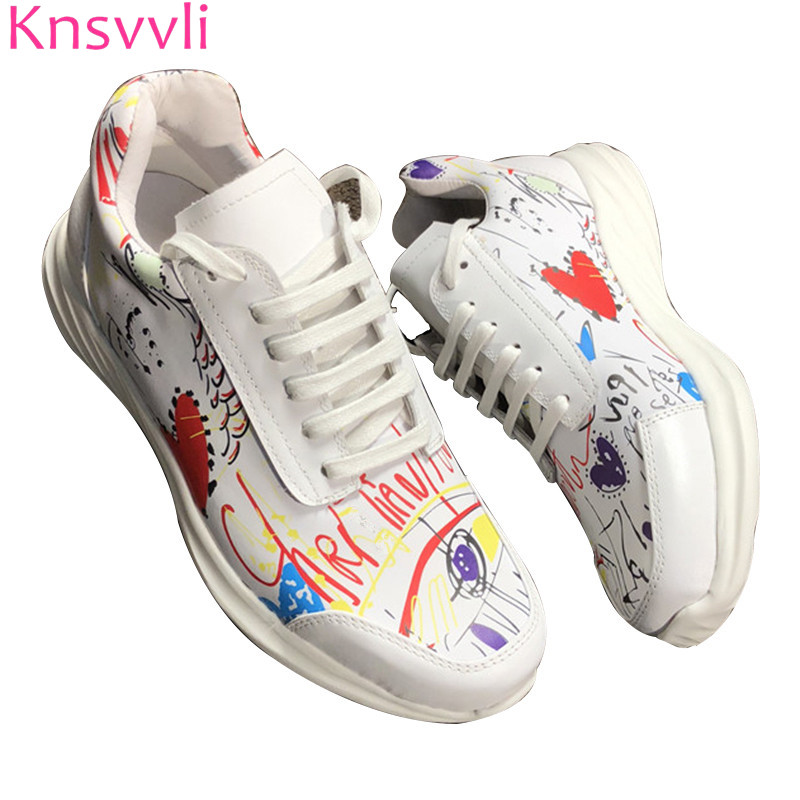 Knsvvli white genuine leather graffiti woman casual shoes pink silver sequins round toe zapatos mujer lace up comfort women shoe forudesigns casual women flats shoes woman fashion graffiti design autumn lace up flat shoe for teenage girls zapatos mujer 2017