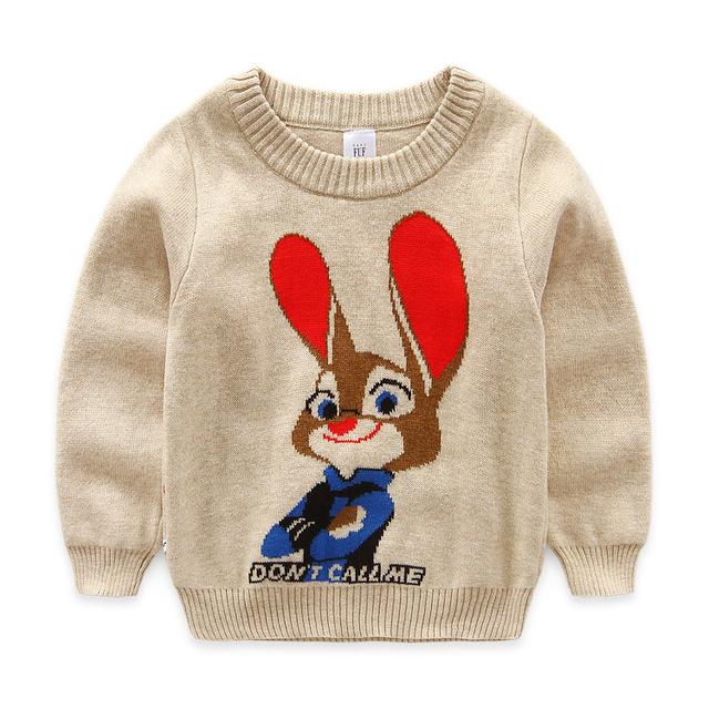 2016 Nueva otoño invierno Moda Niños Cardigan de Punto Lindo Animales los Bebés de los Suéteres Calientes Ropa Casual Para 1-4 T Niños 4 colores