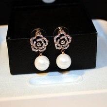 Luksusowe znane marki kwiaty kamelii perły dla kobiet kolczyki biżuteria boucles