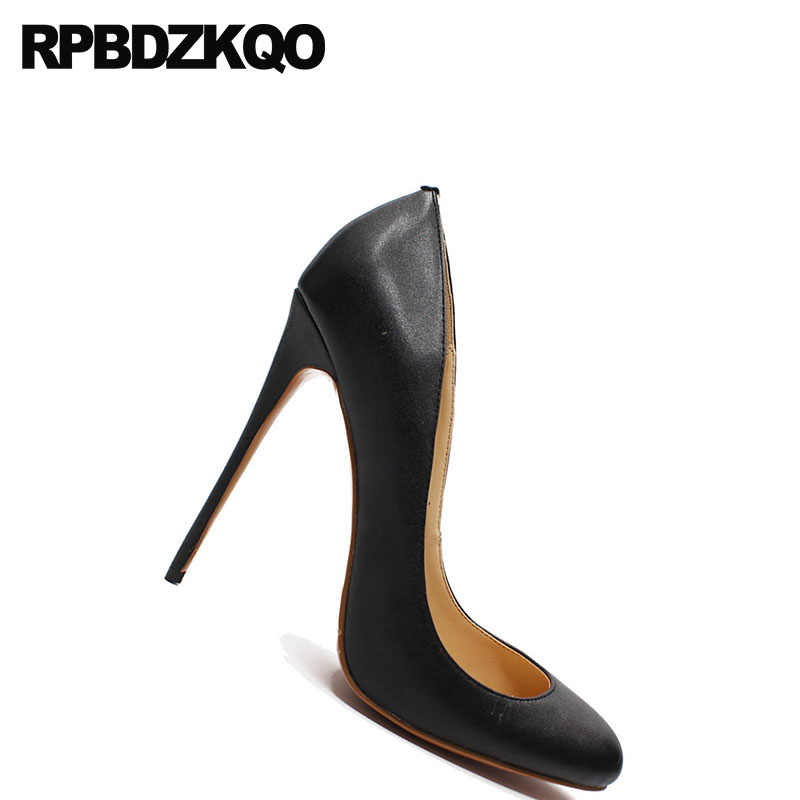 9770dbe6e1 Women Big Size Fashion 12cm 5 Inch Sexy Thin Shoes Crossdresser Discount  High Heels Red Stiletto Pumps Round Toe 2018 Black