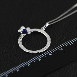Image 3 - Lotus Fun Real 925 Sterling Silver Lapis Handmade Fine Jewelry Fresh Flower Design Pendant without Necklace Acessorios for Women