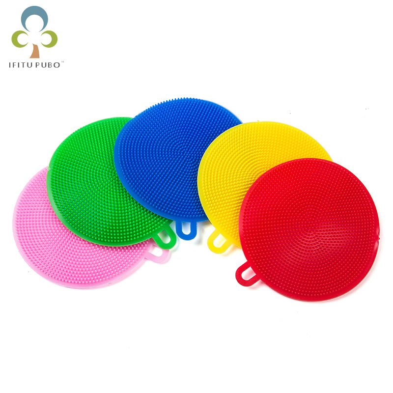 5Pcslot Silicone Washing Antibacterial Scrubber Soft Cleaning Brush Dish Washing Sponge Household Kitchen Cleaning Tools LYQ